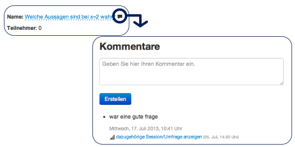 Screenshots der Kommentarfunktion